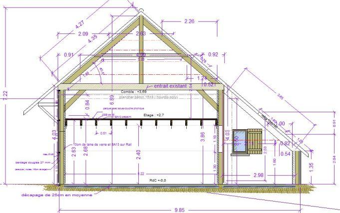 Grange st germain maitre d 39 oeuvre dessin plan permis for Dessin fondation maison