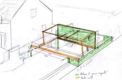 Extension ossature bois et acier maitre d 39 oeuvre dessin for Construire une extension en parpaing